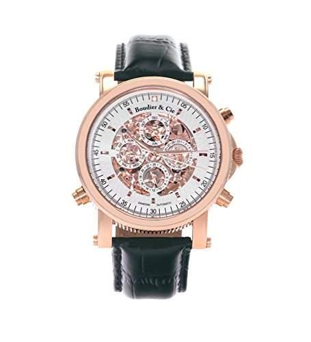 Boudier & Cie Herren-Armbanduhr mechanische Automatik Analog Skelettuhr Leder Schwarz - SK14H037