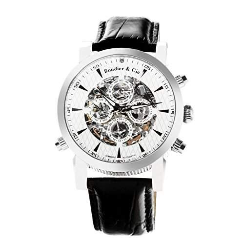 Boudier & Cie Herren-Armbanduhr mechanische Automatik Analog Skelettuhr Leder Schwarz - SK14H054