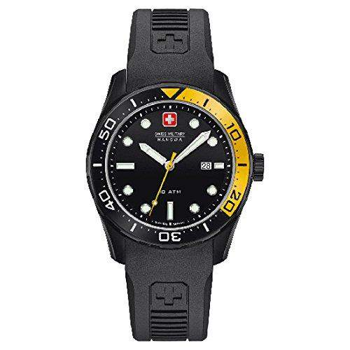 Swiss Military Herren 42mm Schwarz Kautschuk Armband Datum Uhr 06-42131300711