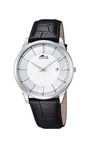 Lotus Herren Quarz-Uhr mit weissem Zifferblatt Analog-Anzeige und schwarz Lederband 101242