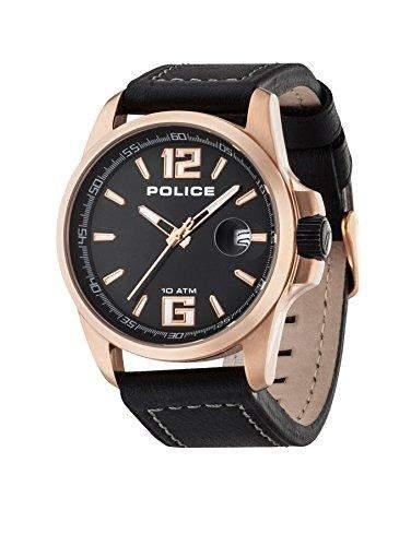 Police Herren-Armbanduhr XL Analog Quarz Leder PL12591JVSR02