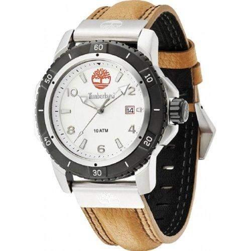 Timberland Charlestown Herren Quarz-Uhr mit weissem Zifferblatt Analog-Anzeige und braunem Lederband 13327JSTB01A