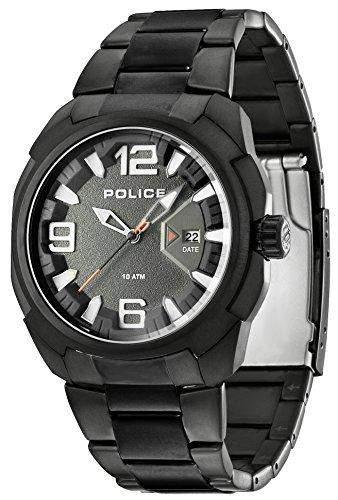 Police Herren-Armbanduhr XL TEXAS Analog Quarz Edelstahl beschichtet PL13836JSB61M