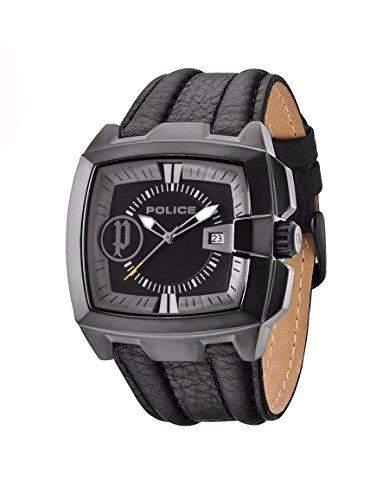 Police Herren-Armbanduhr XL COMMANDER Analog Quarz Leder PL13895JSQBR02