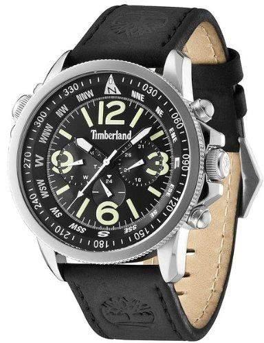 Timberland Campton Herren-Quarzuhr mit schwarzem Zifferblatt Chronograph-Anzeige und schwarzes Lederband 13910JS02