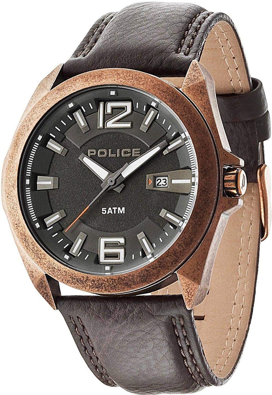 POLICE Herren-Armbanduhr RANGER II Analog Quarz Leder P14103JSQR-61