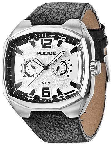 Police Fairplay MenHerren-Armbanduhr 17251562 Analog-Anzeige und schwarzem Lederarmband 14191JS04