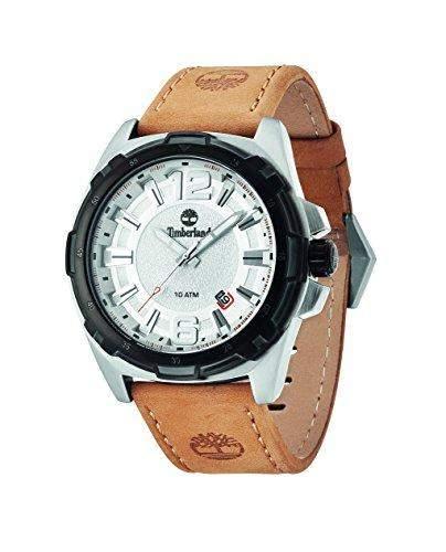Timberland Thetford Herren Armbanduhr mit silber Zifferblatt Analog-Anzeige und braunem Lederband 14248JSTB04