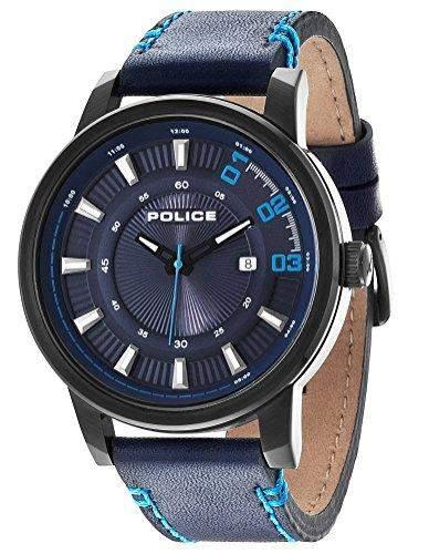 POLICE Herren-Armbanduhr SUNSET Analog Quarz Leder P14375JSB-03