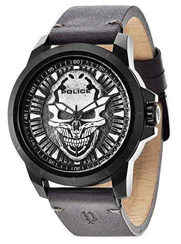 POLICE Herren-Armbanduhr REAPER Analog Quarz Leder P14385JSB-57