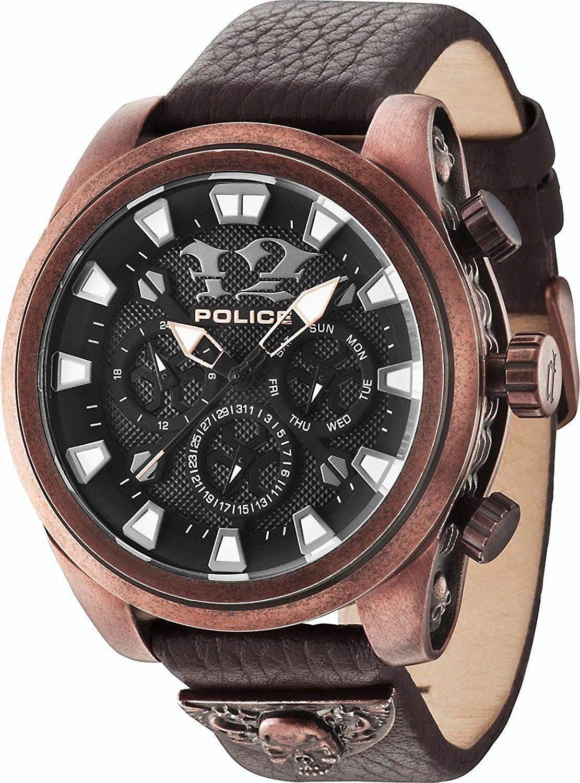 POLICE Herren-Armbanduhr MEPHISTO Analog Quarz Leder P14473JSQBZ-02