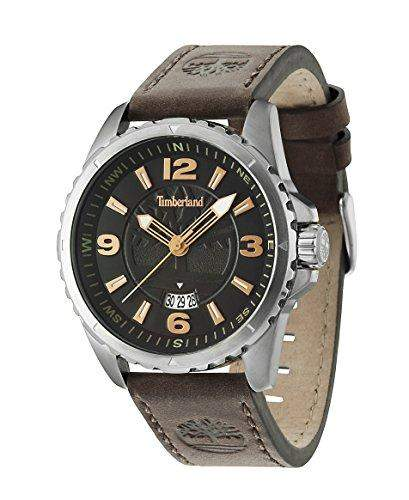 Timberland Walden Herren Digitale Armbanduhr mit schwarzem Zifferblatt Analog-Anzeige und braunem Lederband 14531js02