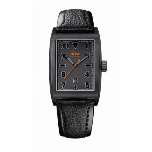 Hugo Boss Herren-Armbanduhr Analog Leder schwarz 1512375