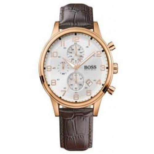 Hugo Boss Herren-Armbanduhr Analog Leder braun 1512519