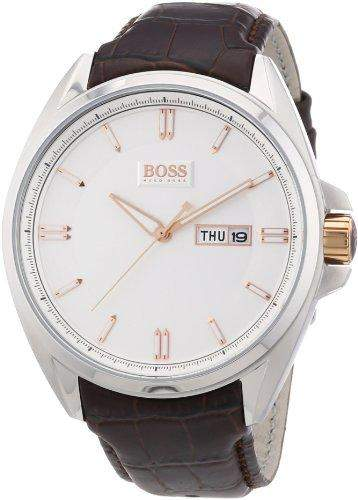 Hugo Boss Herren-Armbanduhr XL Analog Quarz Leder 1512876