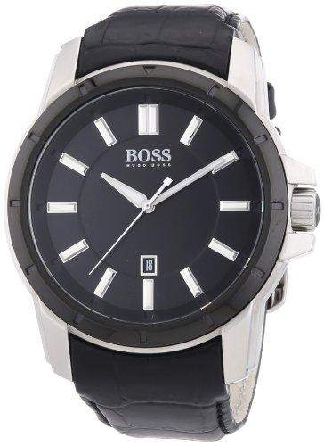 Hugo Boss Herren-Armbanduhr XL Analog Quarz Leder 1512922