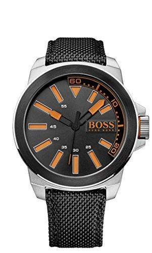 BOSS Orange Herren-Armbanduhr XL New York Analog Quarz Textil 1513116
