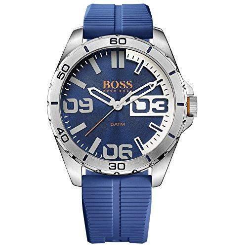 Boss Orange 1513286 Berlin Uhr Herrenuhr Kautschuk Edelstahl 50m Analog blau