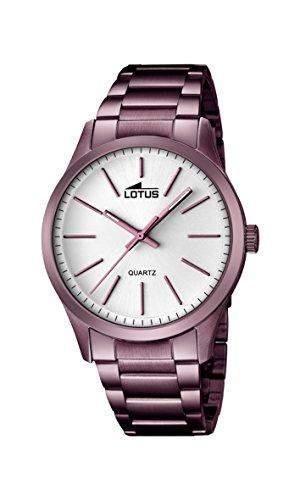 Lotus Herren Quarz-Uhr mit weissem Zifferblatt Analog-Anzeige und vergoldet Edelstahl violett Armband 181641