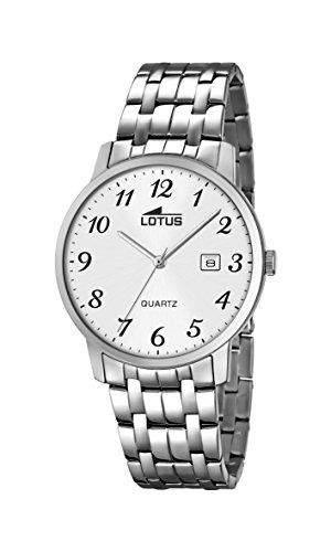 Lotus Herren Quarz-Uhr mit weissem Zifferblatt Analog-Anzeige und Silber Edelstahl Armband 181751