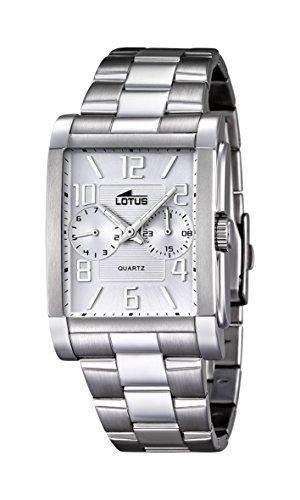 Lotus Herren Quarz-Uhr mit weissem Zifferblatt Analog-Anzeige und Silber Edelstahl Armband 182201