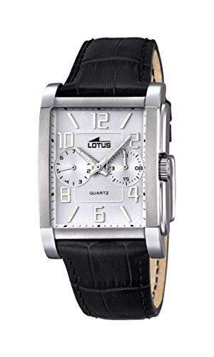 Lotus Herren Quarz-Uhr mit weissem Zifferblatt Analog-Anzeige und schwarz Lederband 182211