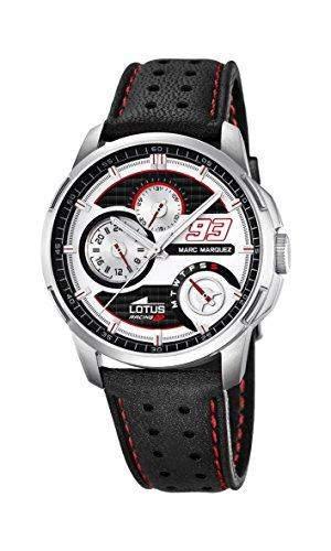 Lotus Marc Marquez Kollektion 2015Herren Quarz-Uhr mit weissem Zifferblatt Analog-Anzeige und schwarz Lederband Scheiben-Abdeckung1