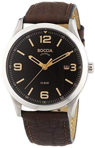 Boccia Herren-Armbanduhr XL Analog Quarz Leder 3583-01