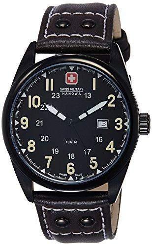 Swiss Military Sergeant Herren-Quarzuhr mit schwarzem Zifferblatt Analog-Anzeige und braunem Lederband 6-41811300705