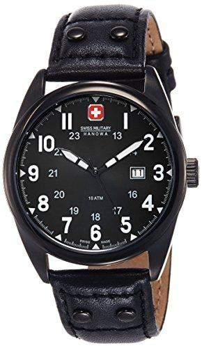 Swiss Military Herren-Armbanduhr Analog Quarz Leder 6-418113007