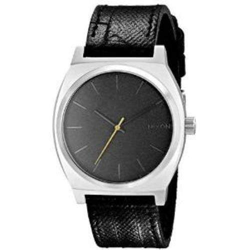 Nixon Herren 37mm Schwarz Leder Armband Edelstahl Gehaeuse Uhr A0451892