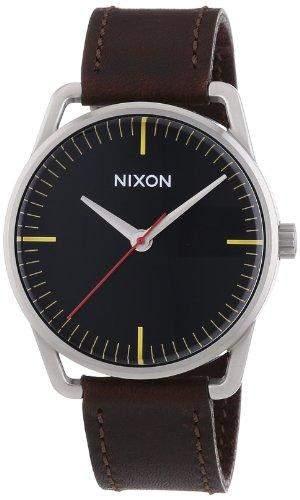 Nixon Herren-Armbanduhr XL Mellor Black  Brown Analog Quarz Leder A129019-00