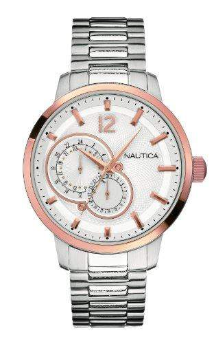 Nautica Herren-Armbanduhr XL Analog Quarz Edelstahl A20069G