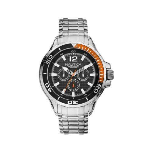 Nautica Herren Uhr Armbanduhr Herrenuhr NST 02 Multi Schwarz Silber