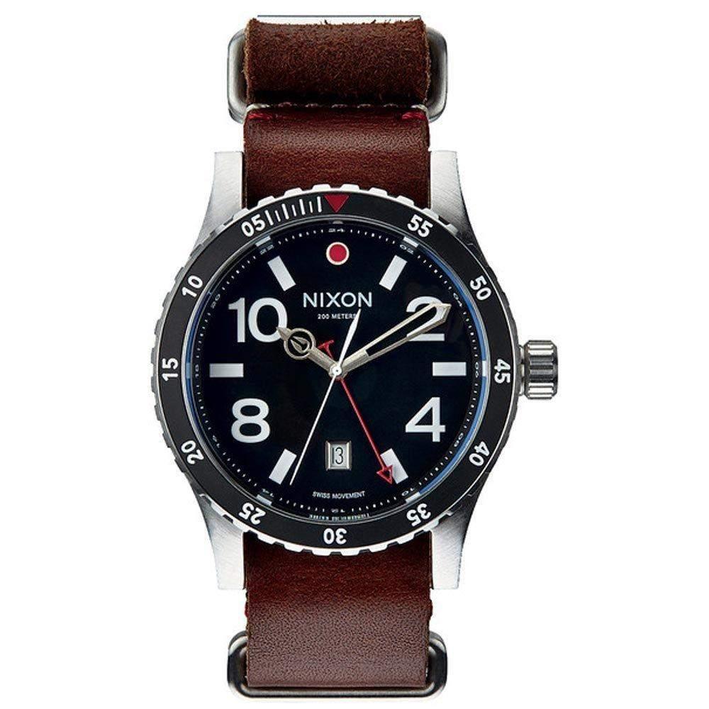 Nixon Herren-Armbanduhr XL Diplomat Black  Brown Analog Quarz Leder A269019-00