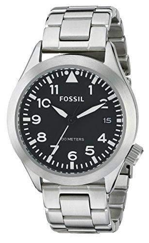 Fossil Herren-Armbanduhr XL The Aeroflite Analog Quarz Edelstahl AM4562
