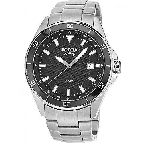 Boccia BoyHerren Quarzuhr mit schwarzem Zifferblatt Analog-Anzeige und-Silber-Armband Titan, B 3577-01
