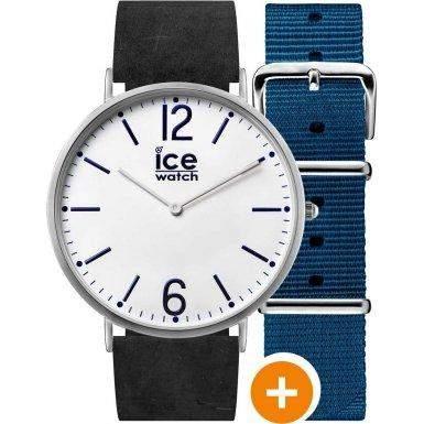 Ice-Watch CHLBFIN41N15 Ice-City Finsbury Uhr Herrenuhr Lederarmband Edelstahl 30m Analog schwarz blau