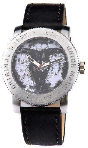 Edc Damen-Armbanduhr XL coin pusher - cool black, white Analog Quarz Leder EE100531001