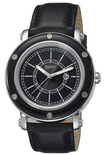 Esprit Damen-Armbanduhr Deco Black Analog Quarz Leder ES104042002