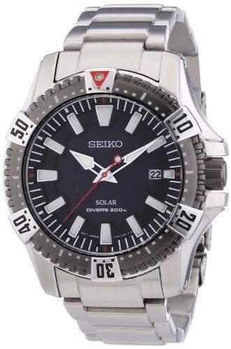 Seiko Herren-Armbanduhr XL Analog Quarz Edelstahl SNE295P1
