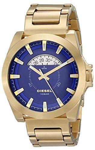 DIESEL HERREN 50MM GOLD EDELSTAHL ARMBAND & GEHAEUSE MINERAL GLAS UHR dz1663