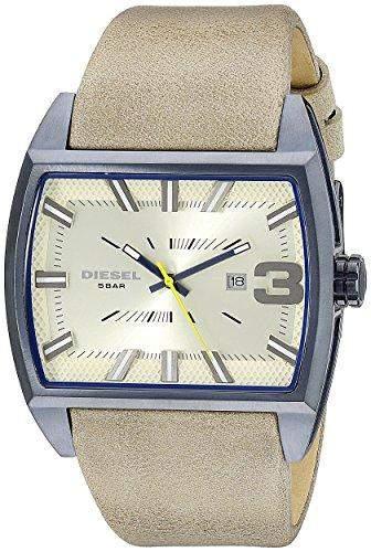 Diesel Herren 47mm Braun Leder Armband Edelstahl Gehaeuse Mineral Glas Uhr dz1703