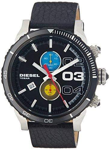 Diesel Holiday 2014 Herren 48mm Schwarz Leder Armband Mineral Glas Uhr DZ4331