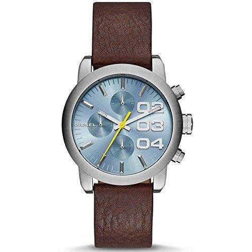 Diesel Herren-Armbanduhr 40mm Armband Leder Braun Gehaeuse Edelstahl Batterie Zifferblatt Blau DZ5464