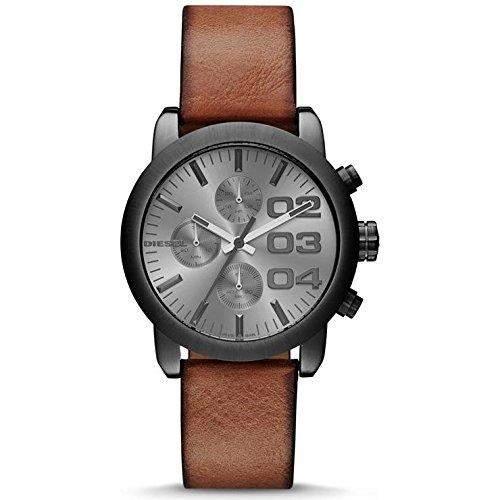 Diesel Herren 40mm Chronograph Braun Leder Armband Edelstahl Gehaeuse Uhr DZ5465