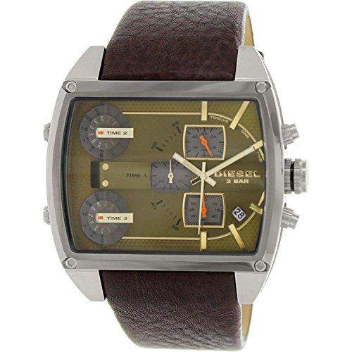 Diesel Holiday 2014 Herren 53mm Braun Leder Armband Edelstahl Gehaeuse Uhr DZ7327