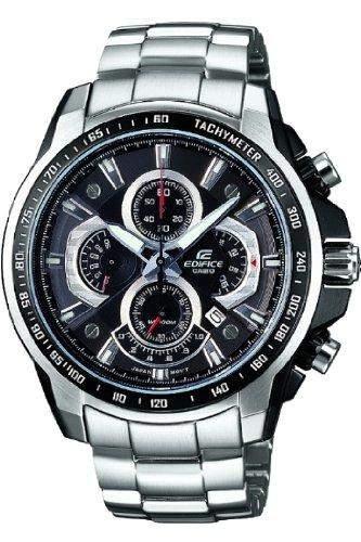 Casio Edifice MenHerren Quarzuhr mit schwarzem Zifferblatt Analog-Anzeige und Silber-Armband Edelstahl-EF - 560D - 1AVEF