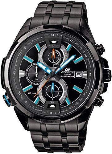 Casio Herren-Armbanduhr XL Edifice Analog Quarz Edelstahl EFR-536BK-1A2VEF