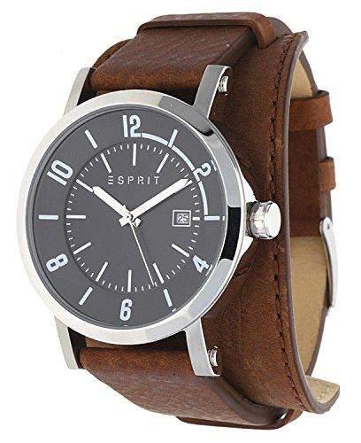 Esprit Herrenuhr Archie cuff brown Datum Leder Quarz Unterlagenband ES108031003